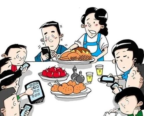 餐桌玩手机