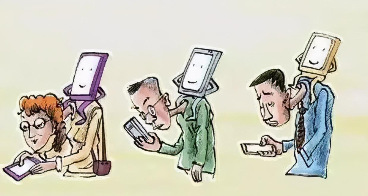 驼背玩手机